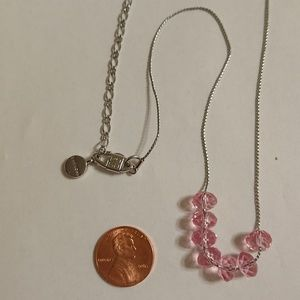 Givenchy pink Crystal silver necklace